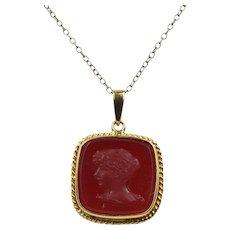 Vintage Carved Agate Carnelian Intaglio Woman's Profile 14K Gold Pendant Charm