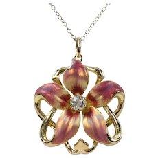 Art Nouveau Pink Enamel and Diamond 14K Gold Flower Pendant