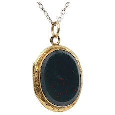 Victorian Bloodstone 14K Gold Locket Pendant