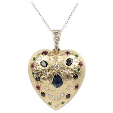 Large Vintage Sapphire Ruby Emerald and Diamond 14K Gold Heart Pendant