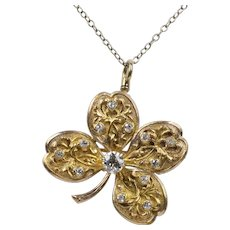 Antique 14K Gold and 0.55 Carats Old Cut Diamond Four Leaf Clover Pendant Pin