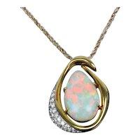 Australian Opal and Diamond 18K Gold Pendant and Necklace Set