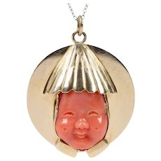 Large Carved Natural Coral Man 14K Gold Pendant Medallion Charm