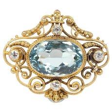 Art Nouveau Natural Aquamarine Old Cut Diamond 14K Gold Antique Brooch Pendant