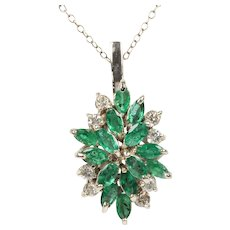 Vintage Emerald and Diamond Cluster 14K Gold Pendant