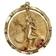 Large 14K Gold Spinning Devil and Angel Mechanical Midcentury Charm Pendant