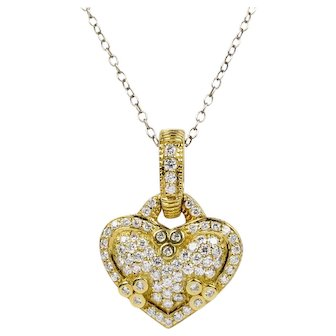 Judith Ripka 18K Gold and 1 Carat Diamond Heart Pendant Enhancer