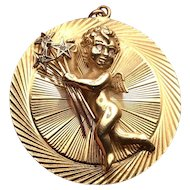 Midcentury 14K Gold and Diamond Large 1.5 inches Cupid Angel Charm Pendant
