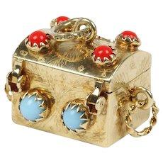Italian 14K Gold Articulated Treasure Chest Pillbox Box Charm Pendant