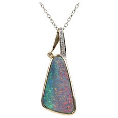 Australian Boulder Opal and 14K Gold Free Form Pendant Enhancer