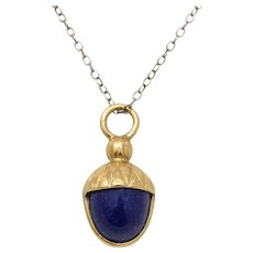 Vintage 18K Gold and Lapis Lazuli Acorn Charm Pendant