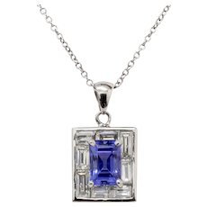 Elegant 1.3 Carat Natural Tanzanite and 0.8 Carat Diamond 18K White Gold Pendant Charm