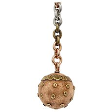 Victorian 14K Tricolor Ball Charm Watch Fob Dog Clip Pendant