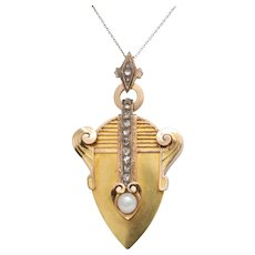 Victorian Musical Diamond and Pearl 18K Gold Locket Pendant