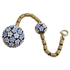 Antique Blue and White Enamel Flower Orb 14K Gold Watch Fob Charm