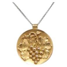 Art Nouveau 14K Gold Repousse Grape Charm Disc Pendant