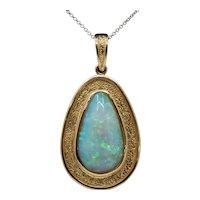 Vintage 18K Gold and Large Natural Opal Pendant