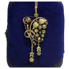 Russian Art Nouveau Demantoid Garnet and 14K Gold Grape Vine Pendant Brooch