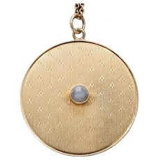 Large 1.4 Inch Star Sapphire and 14K Gold Heavy Disc Vintage Charm Pendant