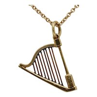 Vintage 14K Gold Harp Musical Charm Pendant