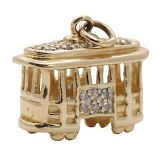 Diamond and 14K Gold Cable Car Trolley San Francisco Charm Pendant