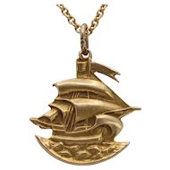 Vintage 14K Gold High Relief Ship Boat Maritime Charm