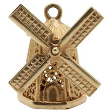 Vintage 14K Gold Spinning Articulated Windmill Charm Pendant