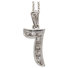 Vintage 14K White Gold and Diamond Number Seven Charm Pendant