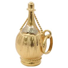 Vintage 18K Gold Bottle of Chianti Wine Charm Pendant