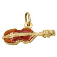 Vintage 18K Gold and Enamel Violin Viola Cello Charm Pendant