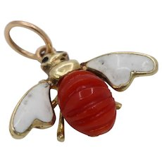 Vintage 14K Gold Enamel and Coral Bee Fly Charm Pendant Bee Coral Charm