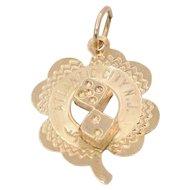 Vintage 14K Gold Good Luck Atlantic City Four Leaf Clover Dice Charm Pendant