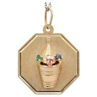 Vintage Wine or Champagne Bottle on Ice 14K Gold Charm Pendant