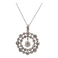 Mid-Victorian Austro-Hungarian 3 Carat Diamond Circle Pendant Necklace Antique
