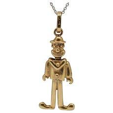 Vintage 18K Gold Articulated Clown Joker Charm Pendant