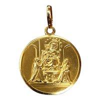 Vintage 18K Gold Ave Maria Religious Saint Disc Medallion Charm