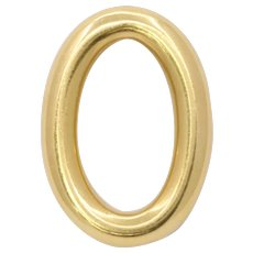 Vintage 18K Gold Oval O Ring Pendant Charm
