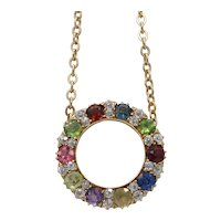 Victorian Harlequin 18K Gold Diamond and Gemstone Circle Pendant Necklace