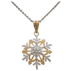 14K Yellow and White Gold Snowflake Charm Pendant