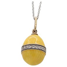 Vintage Russian Yellow Enamel and Diamond 14K Gold Egg Charm