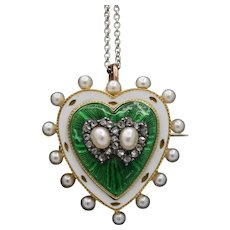 Victorian Diamond Pearl and Guilloche Enamel Double Heart Pendant Pin
