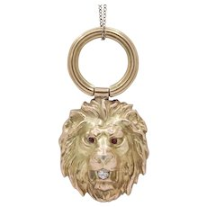 Victorian 14K Gold and Diamond Lion Head Charm Pendant