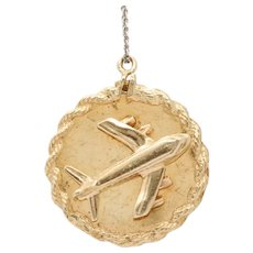 Vintage 14K Gold Airplane Travel Heavy Charm Medallion