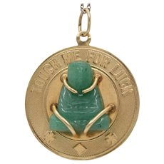 Vintage 14K Gold and Carved Aventurine Buddha Lucky Charm Pendant