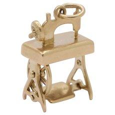 Vintage 14K Gold Sewing Machine Charm