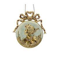 Art Nouveau 14K Gold Diamond Opalescent Enamel Bow Lady Profile Pendant Pin