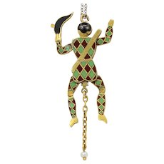 Vintage 14K Gold Enamel and Diamond Jester Clown Charm Pendant