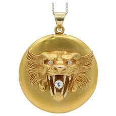 Large Victorian 14K Gold and Diamond Roaring Lion Locket Pendant