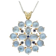 Vintage Moonstone and Sapphire 14K Gold Cluster Pendant