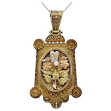 Victorian Multicolor 14K Gold Floral Bouquet Locket Pendant